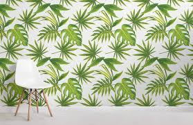 tropical leaves print room wall murals