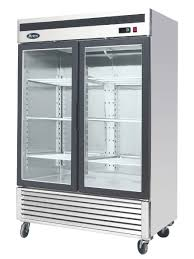 two glass doors stainless steel upright refrigerator