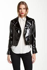 image of mackage lucia shiny coated leather jacket