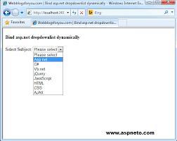 bind asp net dropdownlist dynamically