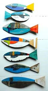 colorful wooden fish wall art