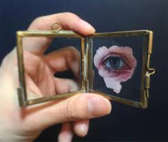as part of this ongoing series self taught painter henrik uldalen has been creating depictions of eyeouths on glass the oil paintings are an