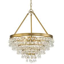 6 light aged brass transitional chandelier dd in clear glass drops