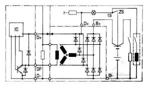 automotive alternators internal circuit and output voltage fig 3 5 a typical bosch alternator internal circuit schematic
