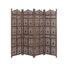large 4 panel brown wood screen decorative room