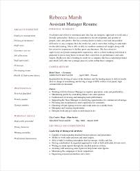 Sample Retail Resumes 8 Retail Manager Resumes Free Sample Example Format