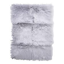 lina patched faux fur rug 58x85cm grey rugs home decor jysk canada