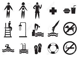 Collection Of Swimming Pool Vector Icons In Black Isolated On