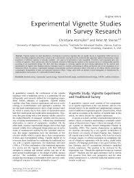 Vignette Design Pdf Experimental Vignette Designs For Factorial Surveys