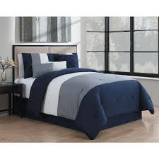 manchester 7 piece navy and grey and white queen comforter set