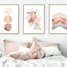 rose gold and gray wall art