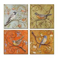 sea charm gallery wrapped canvas wall art set of 4 birds on tree branch with blooms painting print on canvas animal canvas art for home decor on canvas wall art sets of 4 with bird wall art sets amazon