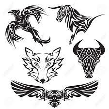 Set Of Animals Tattoo Bull Wolf Owl Eagle