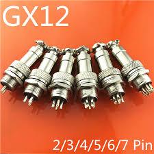 1set GX12 <b>2</b>/3/4/5/<b>6</b>/<b>7 Pin</b> Male + Female <b>12mm</b> Wire Panel ...