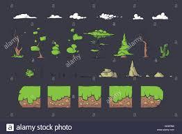 Design Tiles Game Tile Set For Platformer Game Seamless Vector Ground Blocks
