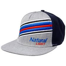 Natty Light Visor Natural Light Beer Striped Adjustable Snapback Hat