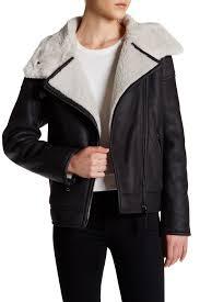 image of mackage genuine sheepskin leather fur trim er jacket