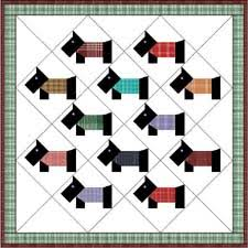 Baby quilt with scotty blocks on point. These would be nice with ... & Doll & Baby Scottie Dog Quilt Pattern From the Mid Adamdwight.com
