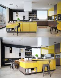 Yellow And Wood Kitchen Ideas Walls With Dark Cabinets Grey Beautiful  Accent Kitchens