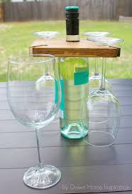 diy wine bottle and glass holder featuring kristen at down home inspiration