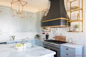 kitchen white marble calcutta gold open shelves gold