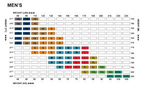 Height Weight Length Chart Mens Fitting Charts Epix Gear