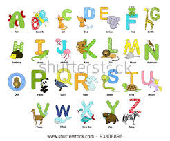 stock vector animal themed alphabet from a to z