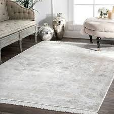 nuloom new traditional vintage distressed fl fringe area rug in ivory