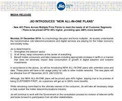 Airtel Vodafone Idea Announced Hiked Tariff Plans Jio To