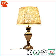 European Style Chrome Table Lamp Shade Champagne Color Jacquard