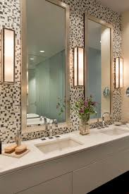 bathroom lighting ideas on mosaic tile wall plus double frame mirror for vanity with double sink and dornbracht also arrangement fl in share bathroom