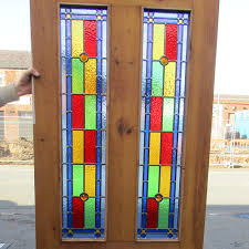 4 panel bullseye stained glass interior door
