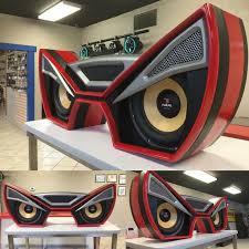 17 best ideas about car audio loudspeaker enclosure car audio custom install trunk amp rack unique enclosure eyes angry fiberglass