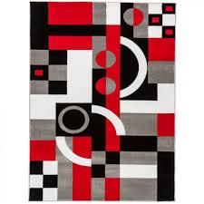 pleasurable red and gray area rugs black white rug geometric carpet grey shining home website flokati