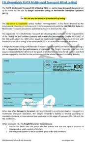 bill of loading negotiable combined transport bill of lading fbl
