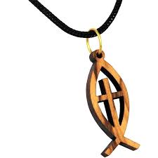 olive wood cut out ΙΧΘΥΣ ichthys ichthus fish with cross pendant with necklace