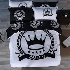 black and white crown bedding set king queen size luxury pcs for comforter designs trend black and white bedding sets queen