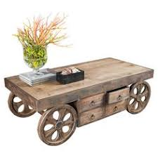 table with wheels. add character to room with rustic tables | tables, and table wheels