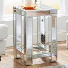 Glass Nightstand Bedroom End Tables Table Lamps Eurostyle Mirrored Accent  Living Room Decor Mirror Glam New Dresser Set Night Stands Silver Small  Cheap ...