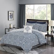 crest home barcley queen size bedding comforter 7 pc bed set navy blue and white medallion discontinued no longer available greydock com