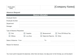 Leave Of Absence Form Template Leave Forms Template Picture Personal Of Absence Annual Sick