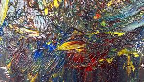 layers of oil paint create a thick impasto
