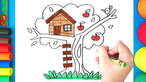 Image Backyard Ideas Youtube How To Draw Tree House For Kids Easy Treehouse Coloring Page