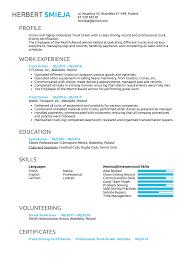 Driver Sample Cv Resume For Truckriverump Samples Velvet Jobs Sample