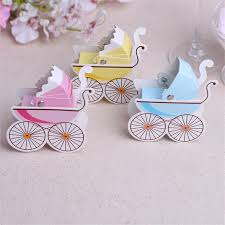 100pcs lot baby carriage baby shower trolley shaped paperboard diy candy box guest return gift