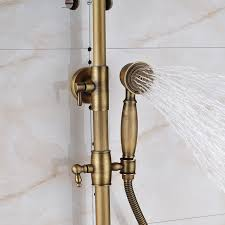 antique brass faucet. Antique Brass Wall Mounted Bathtub Shower Set Faucet Dual Handle With Commodity Shelf Bathroom Mixers 8\