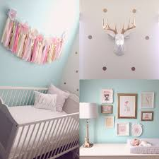 Mint \u0026 gold nursery. Crib from IKEA. Pink tissue garland from ETSY ...