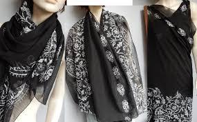 Velký Jemný šátek Nebo Pareo černo Bílé 100x158 Ruční Tisk Aukro