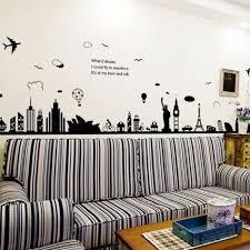 eiffel tower sydney greek city building set diy wall stickers living room background decor mural decal