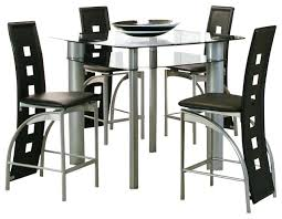 table 4 chairs counter height glass dining set